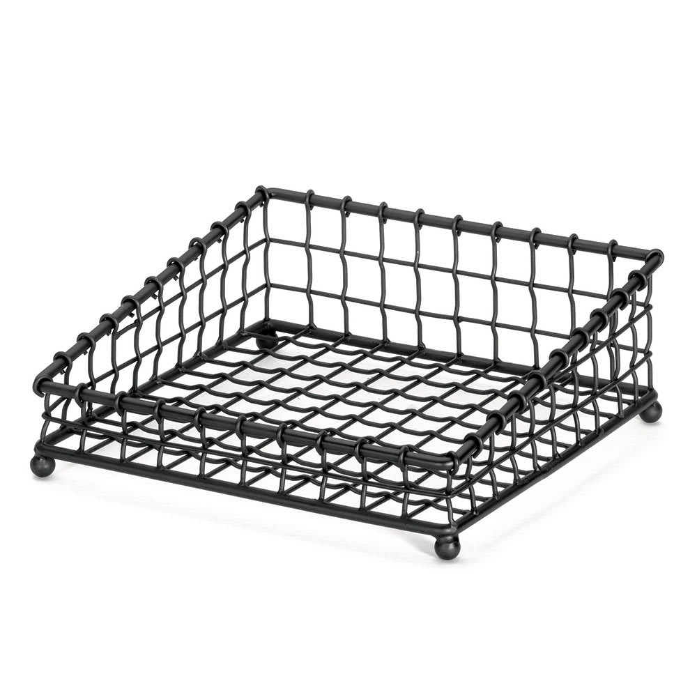 Tablecraft GM1212 Angled Square Grand Master Collection Basket, 12 x 12 in, Metal, Black