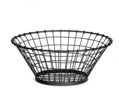 Tablecraft GM18 Round Grand Master Collection Basket, 18 x 7.5 in, Black Powder Coated Metal