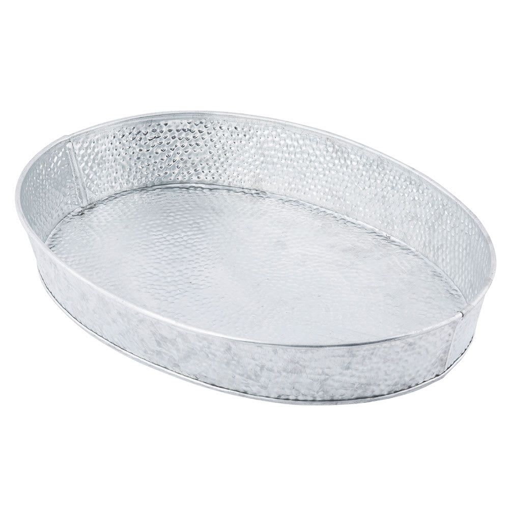 "Tablecraft GP129 Oval Dinner Platter - 12x9"" Galvanized Steel"