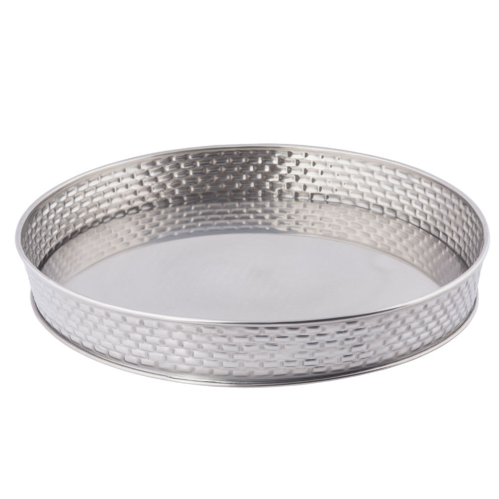 "Tablecraft GPSS10 10.5"" Round Brickhouse Collection Serving Platter, Stainless"