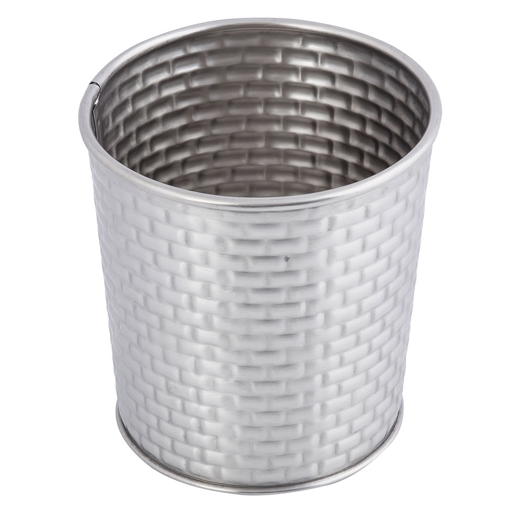 "Tablecraft GTSS31 13 oz Round Brickhouse Collection Fry Cup - 3.5"" x 3.5"", Stainless"