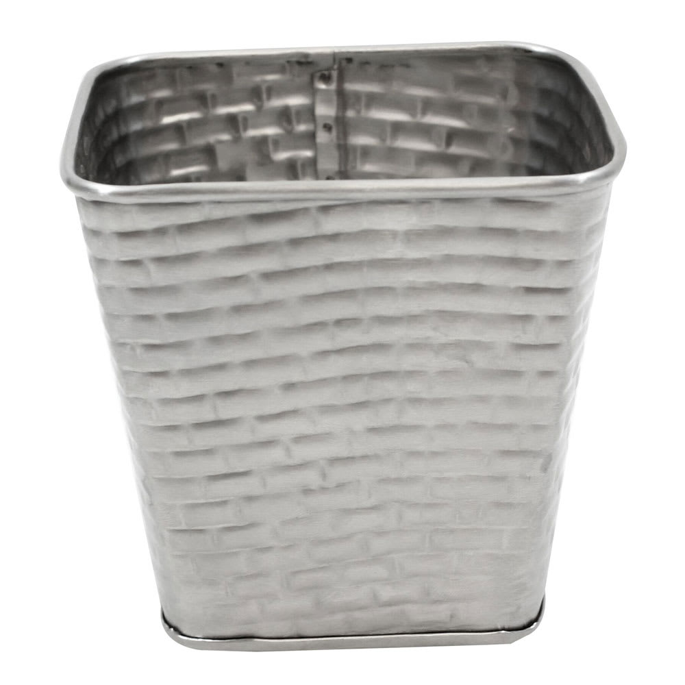 "Tablecraft GTSS4 15-oz Square Brickhouse Collection Fry Cup - 4"" x 4"", Stainless"
