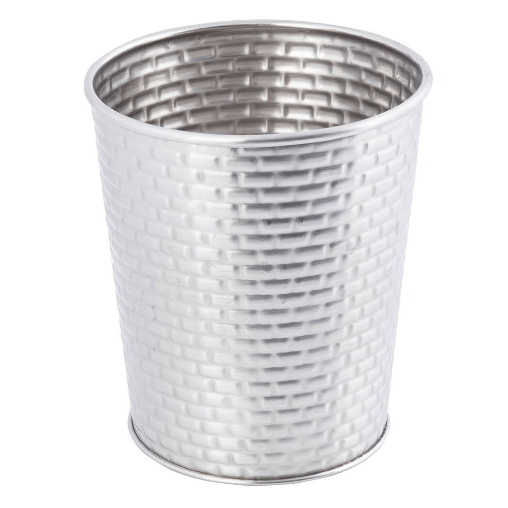 "Tablecraft GTSS45 23 oz Round Brickhouse Collection Fry Cup - 4"" x 4.5"", Stainless"