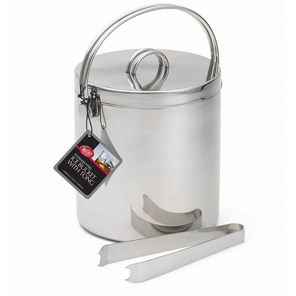 Tablecraft H303 Cash And Carry Ice Bucket w/ Tongs, Stainless Steel