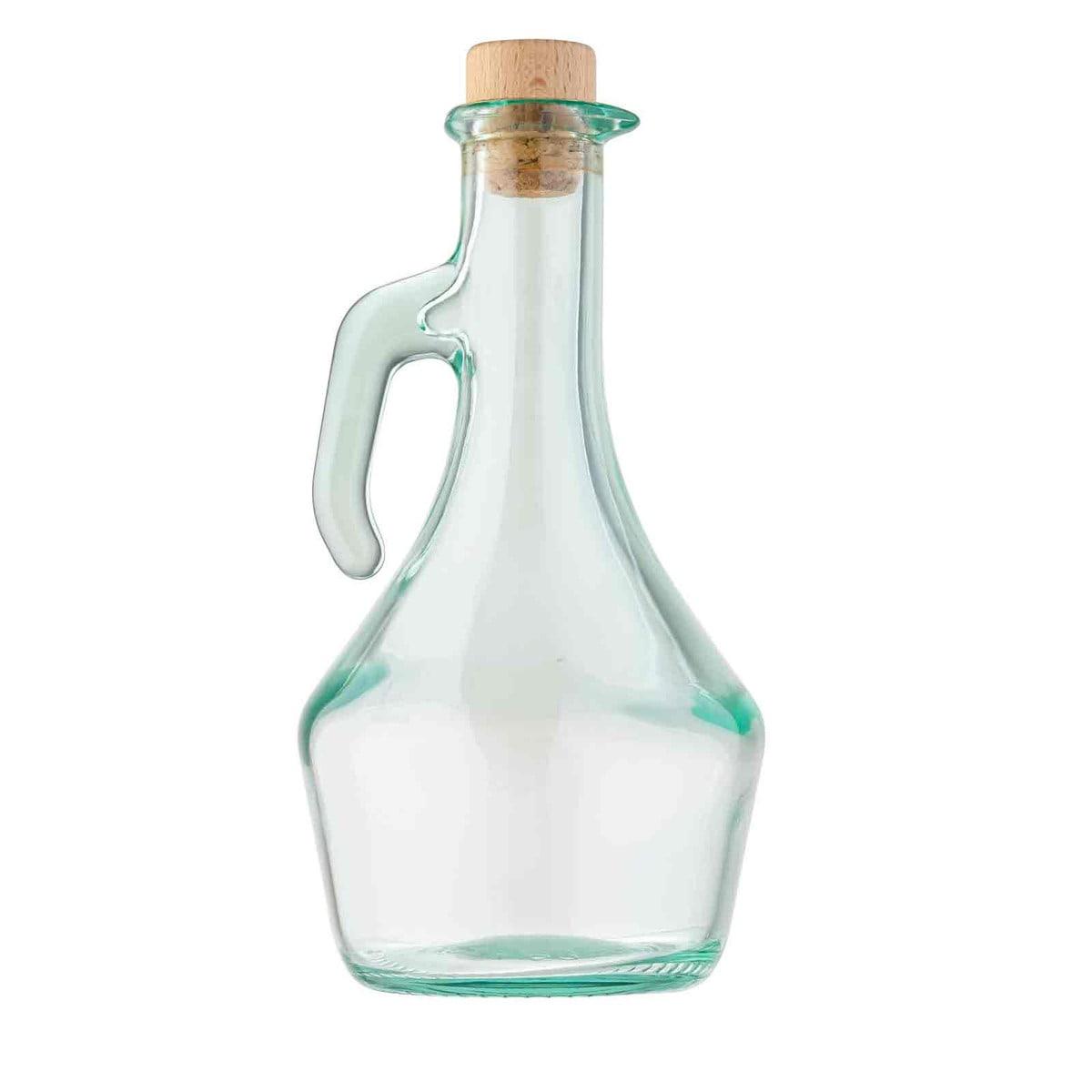 Tablecraft H9222 17 oz Portabella Green Glass Olive Oil Bottle w/ Cork Stopper