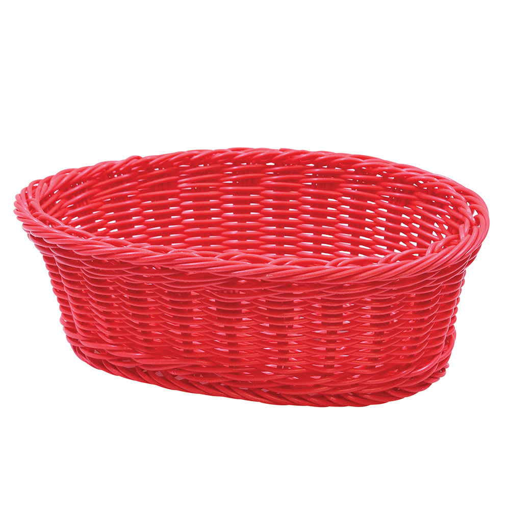 "Tablecraft HM1174R Oval Basket, 9-1/4 x 6-1/4 x 3-1/4"", Red Polypropylene Cord"