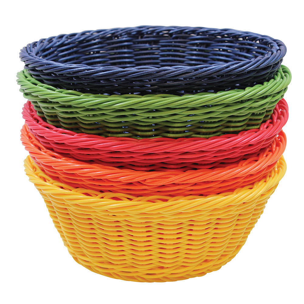 "Tablecraft HM1175A Round Basket, 8-1/4 x 3-1/4"", Assorted Color Polypropylene Cord"