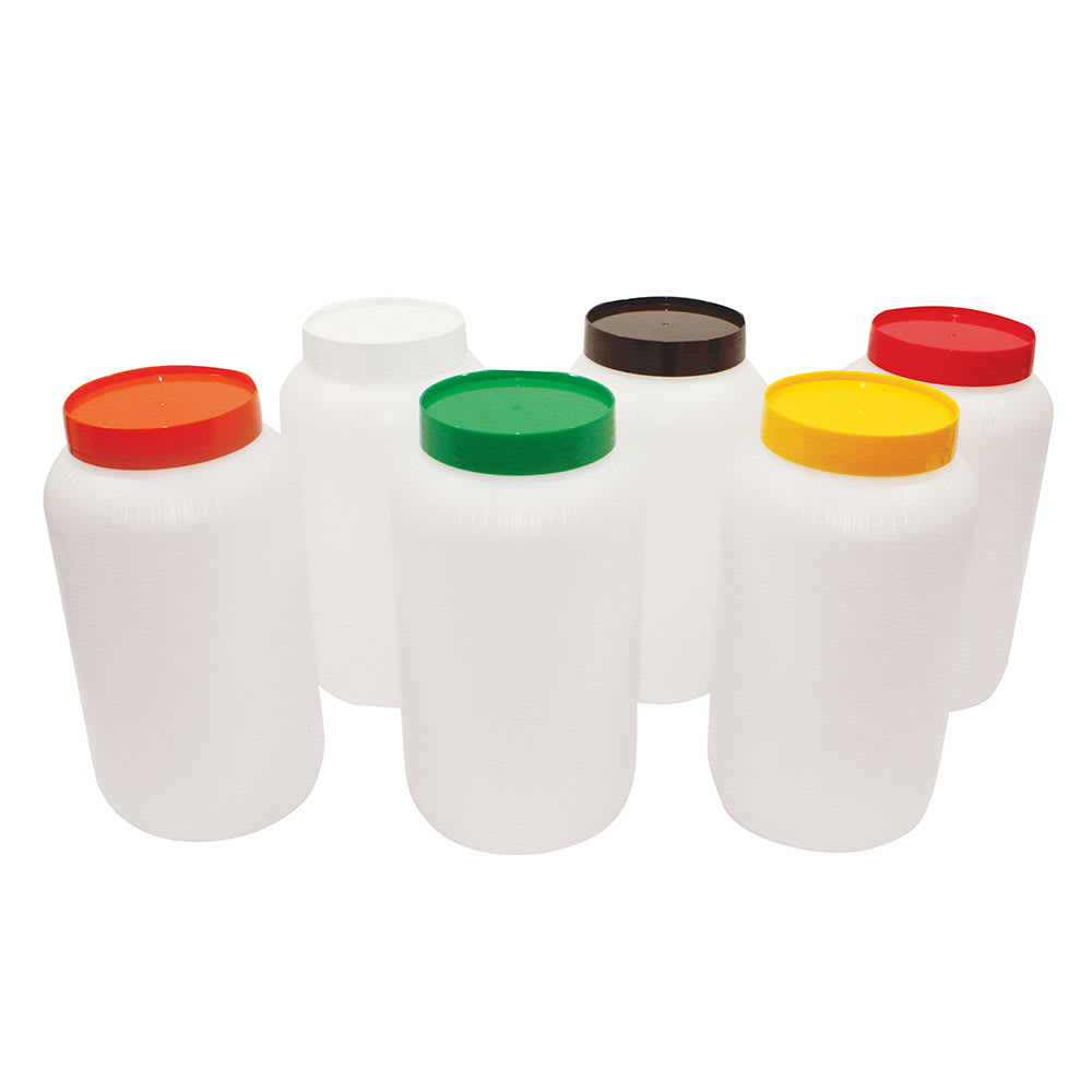 Tablecraft JC1064A Polyethylene Backup Unit w/ Assorted Color-Coded Cap, Half Gallon