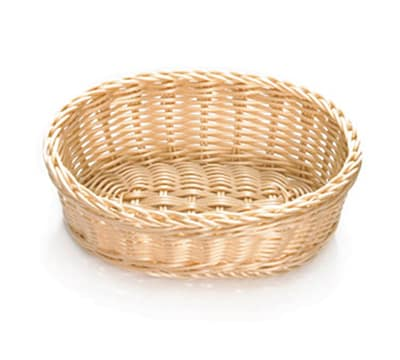 "Tablecraft M1176W Natural Oval Basket, 10 x 7 x 3-1/4"", Polypropylene, Solid Cord"