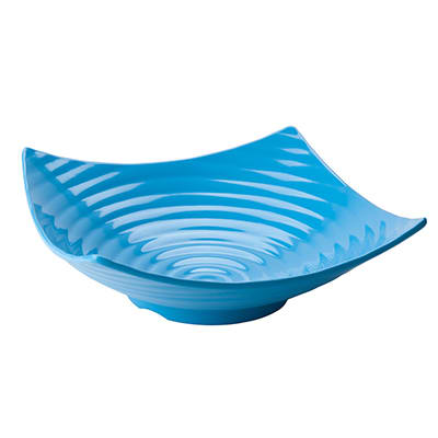 "Tablecraft MB164BL 13"" Square Frostone Bowl - Ribbed, Melamine, Blue"