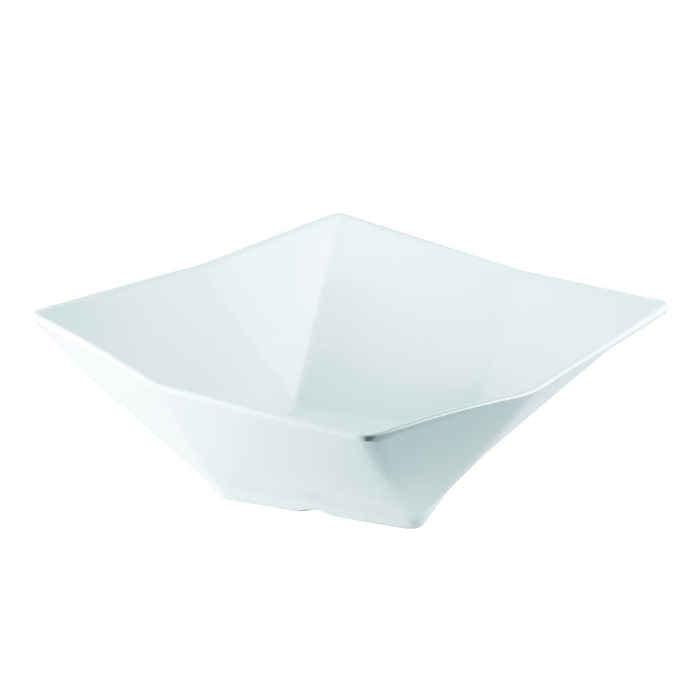 "Tablecraft MB93 Angled Square Bowl, 9x3.25"", Melamine, White Glossy Finish"