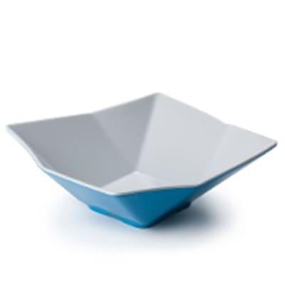 "Tablecraft MB93BLW Angled Square Bowl, 9x3.25"", Melamine, White/Blue"