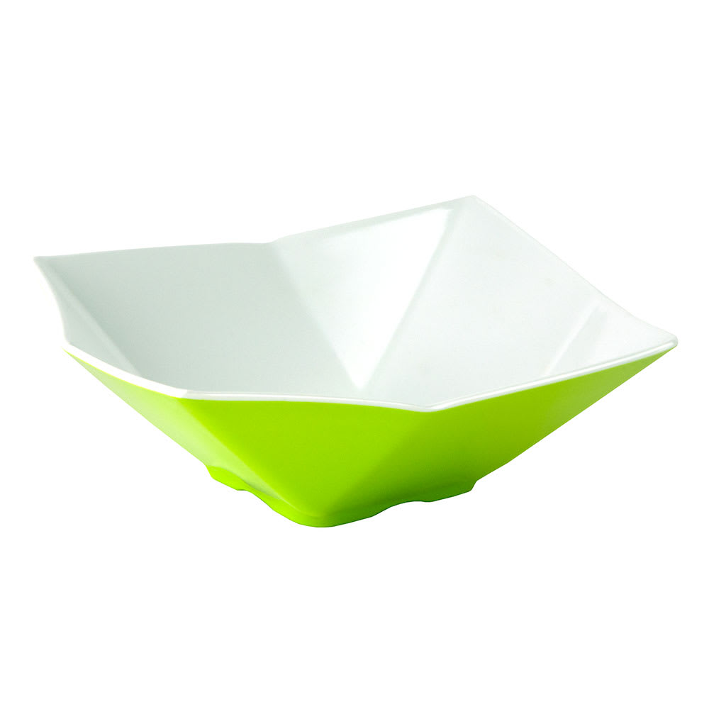 """Tablecraft MB93GNW Angled Square Bowl, 9x3.25"""", Melamine, White/Green"""