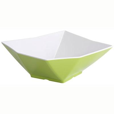 "Tablecraft MB93XW Angled Square Bowl, 9x3.25"", Melamine, White/Orange"