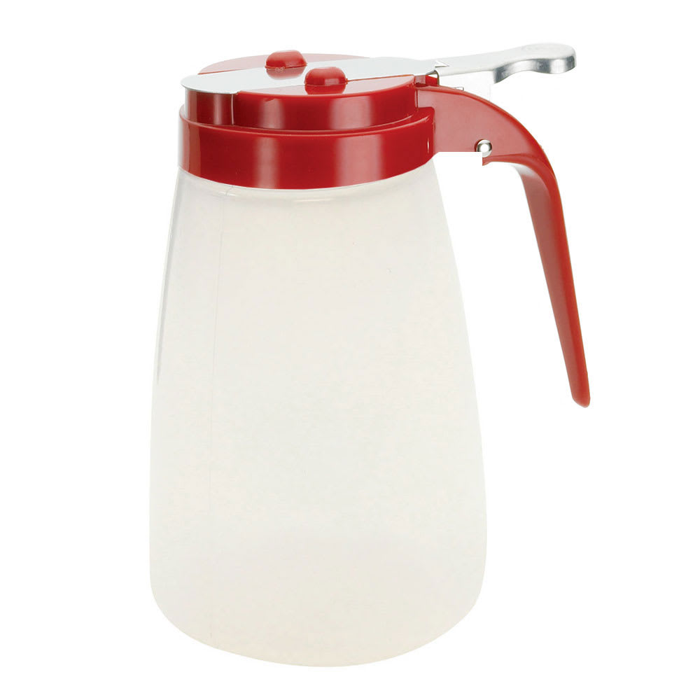 Tablecraft PP10RE 10 oz Syrup Dispenser - Polypropylene, Red