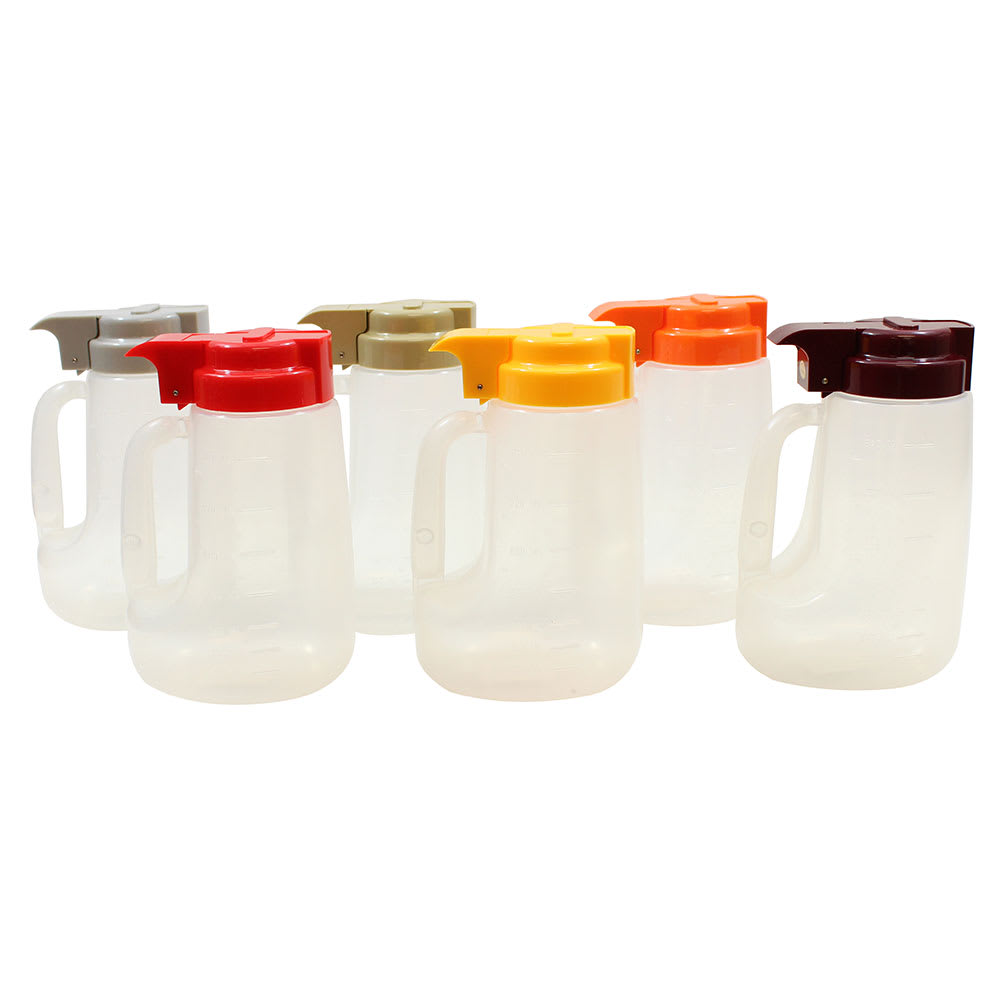 Tablecraft PP32A 32-oz Pour Dispenser Kit w/ (6) Colors - Polypropylene, Clear