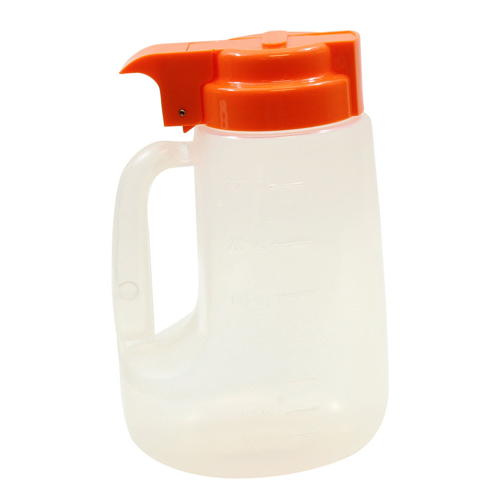 Tablecraft PP32X 32 oz Pour Dispenser w/ Graduated Markings - Polypropylene, Orange