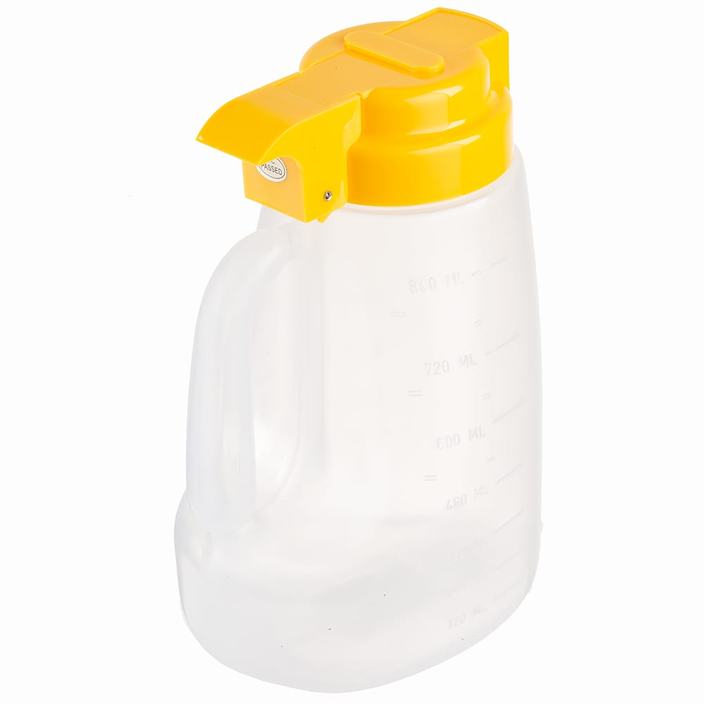 Tablecraft PP32Y 32 oz Pour Dispenser w/ Graduated Markings - Polypropylene, Yellow