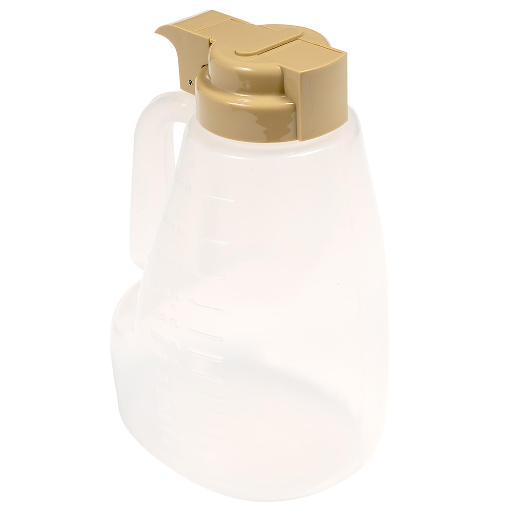 Tablecraft PP64BE 64-oz Pour Dispenser w/ Graduated Markings - Polypropylene, Beige