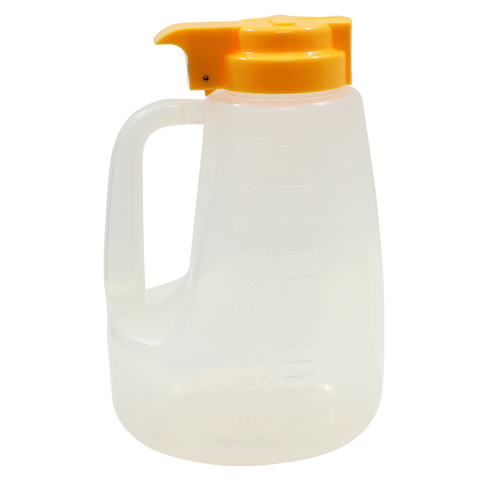 Tablecraft PP64Y 64-oz Pour Dispenser w/ Graduated Markings - Polypropylene, Yellow