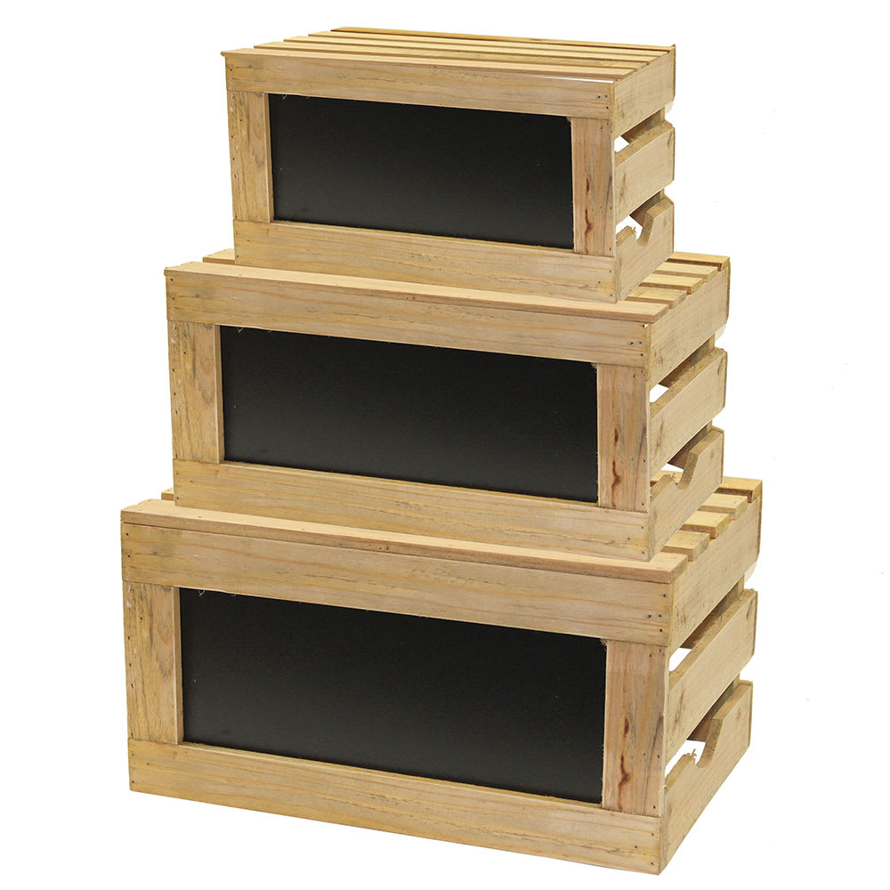 Tablecraft RCBCRATE1 Crate Riser Set w/ Chalkboard - Natural Wood