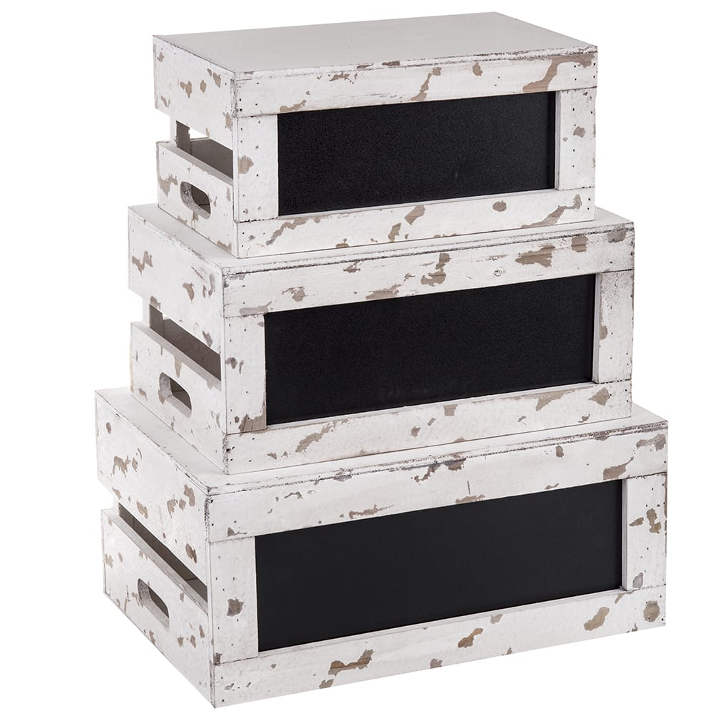 Tablecraft RCBCRATE2 Crate Riser Set w/ Chalkboard - Distressed Wood