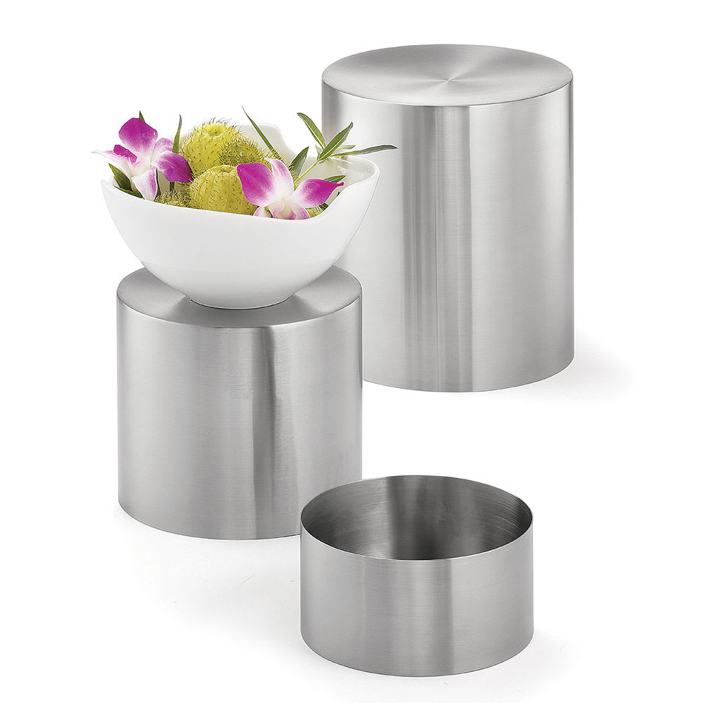 """Tablecraft RR3 Round 3 Piece Riser Set, Brushed Stainless Steel, One Each 8 & 7 & 6"""" Dia"""