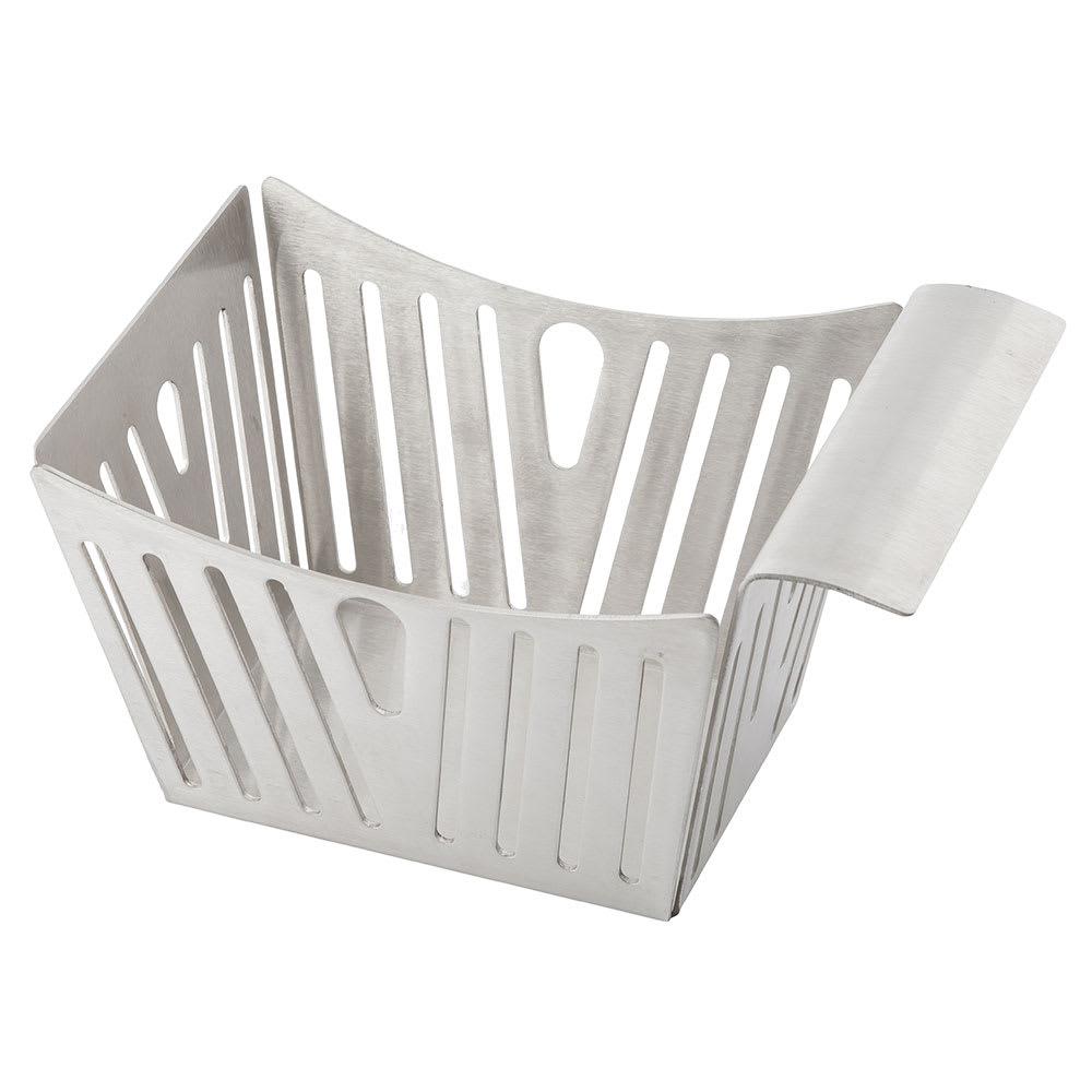 "Tablecraft SPB Rectangular Serving Basket w/ Stamped Pinstripes, 5.5"" x 3.25"" x 3"", Stainless"