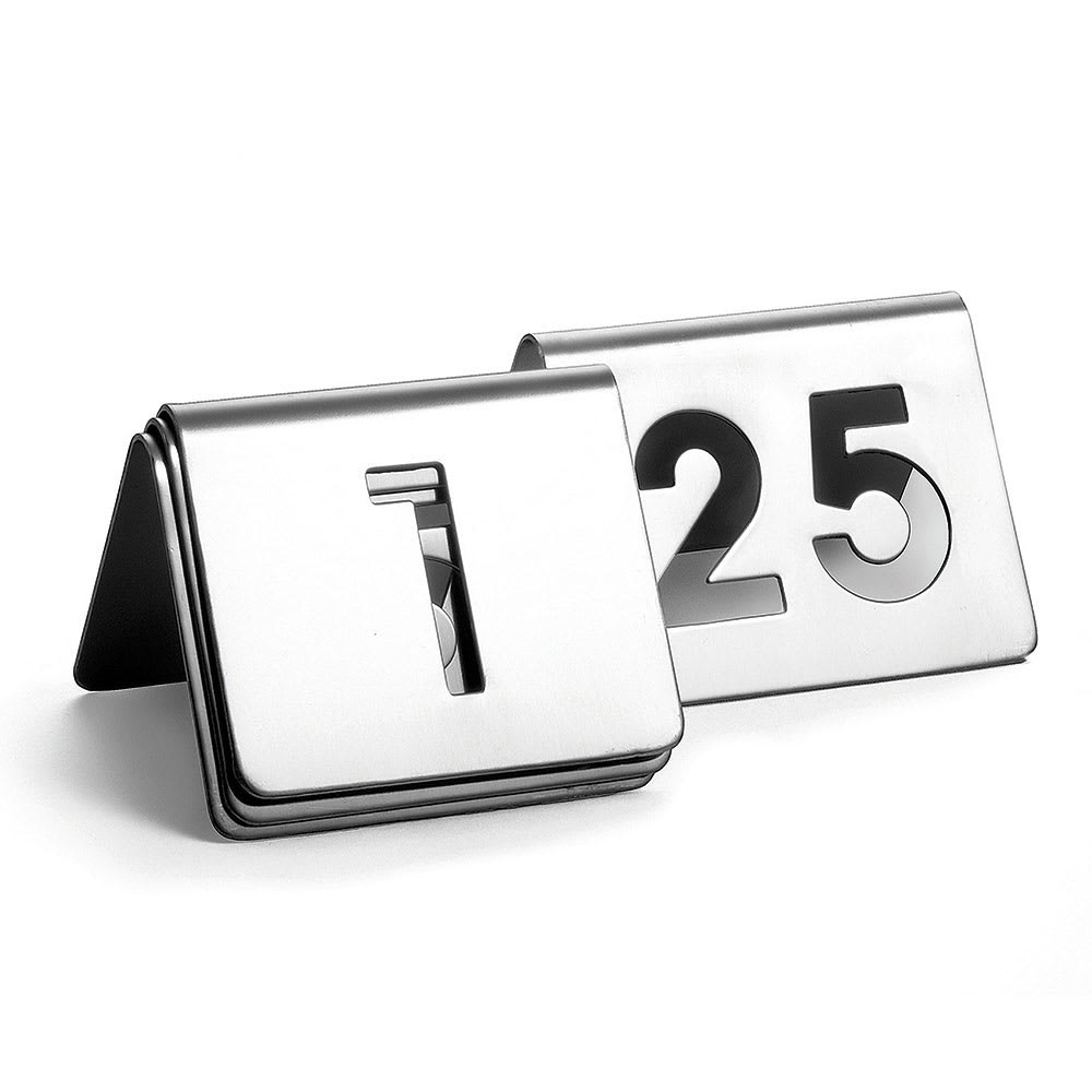 """Tablecraft TC125 Tabletop Number Cards - #1-25, 2.5"""" x 2.5"""", Stainless"""