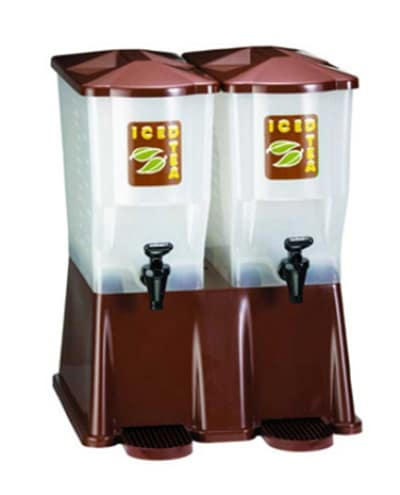 Tablecraft TW54DPH Heavy Duty Beverage Dispenser, Twin Reservoir, 3 Gallons Each, Brown