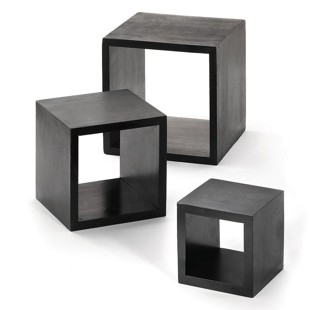 "Tablecraft WBK3 Square Wooden Riser Set, 3 Piece, 5 & 7 & 9"" Squares, Black"