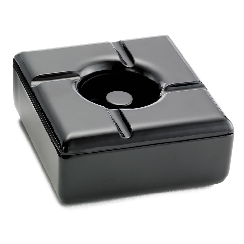 "Tablecraft WPA5BK Windproof Melamine Ashtray, Square, 5"", Black"