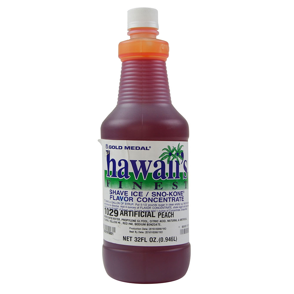 Gold Medal 1029 1-qt. Hawaii's Finest Shave Ice/Sno-Kone Peach Flavor Concentrate