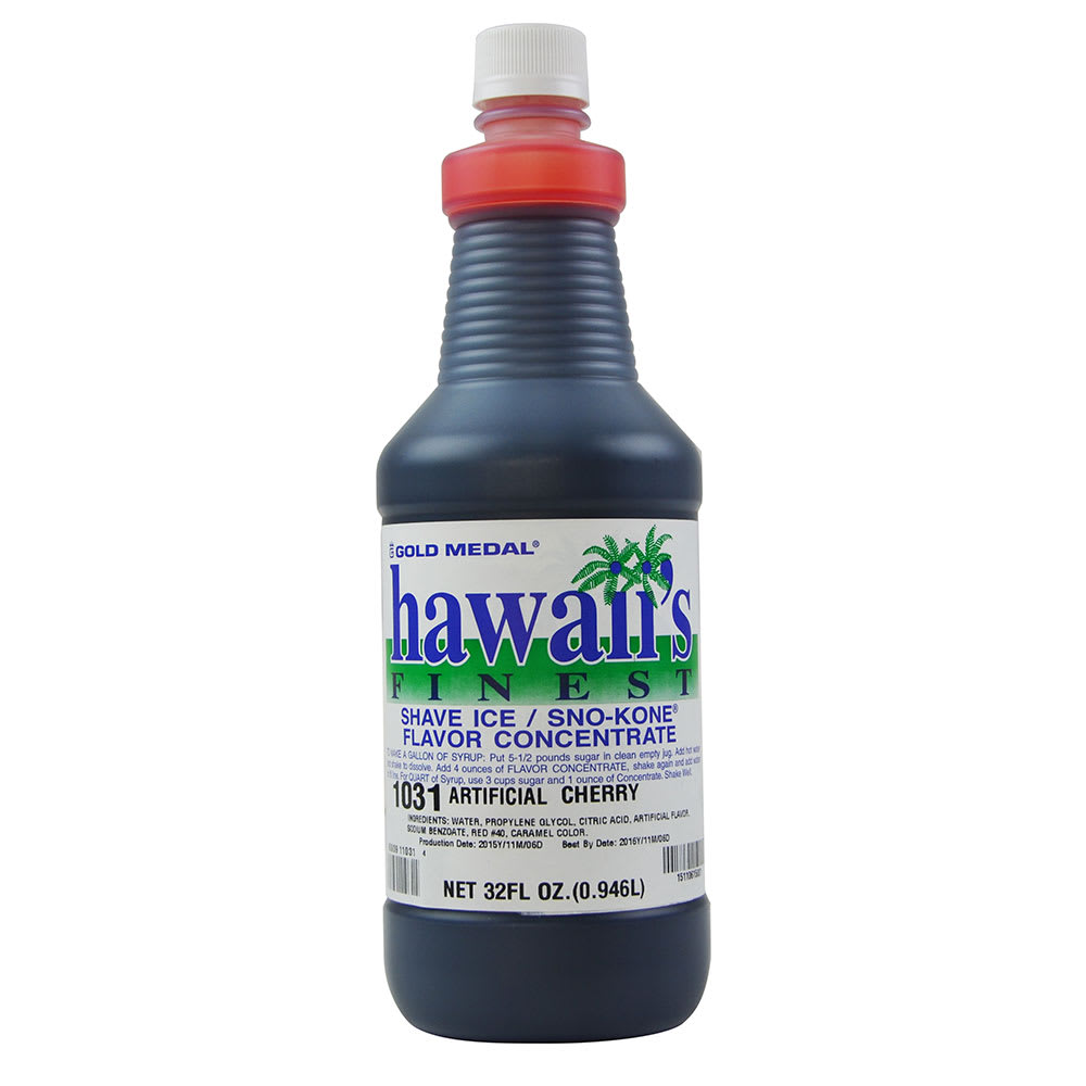Gold Medal 1031 1-qt. Hawaii's Finest Shave Ice/Sno-Kone Cherry Flavor Concentrate