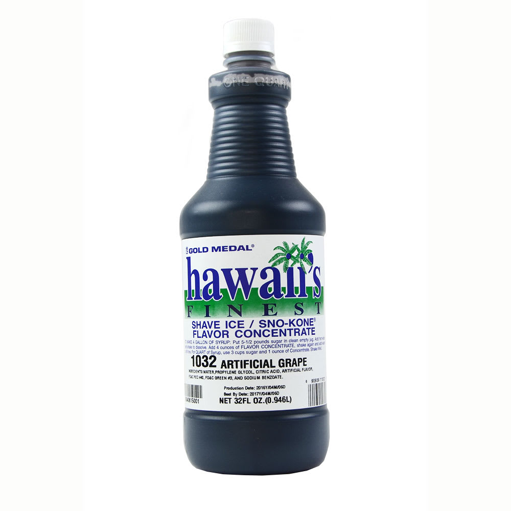 Gold Medal 1032 1-qt. Hawaii's Finest Shave Ice/Sno-Kone Grape Flavor Concentrate