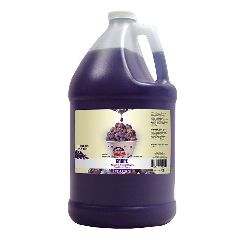 Gold Medal 1224 Grape Snow Cone Syrup, Ready-To-Use, (4) 1 gal Jugs