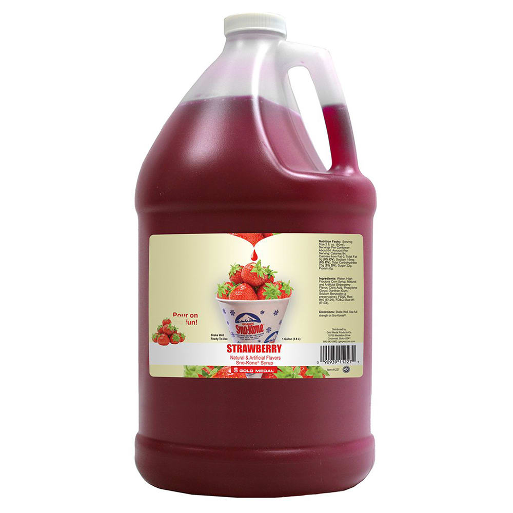 Gold Medal 1227 Strawberry Sno Treat Flavor, (4) 1 Gallon Per Case