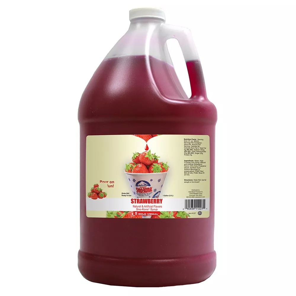 Gold Medal 1227S Sno Treat Flavor, Sweetened w/ Saccharin, Strawberry, (4) 1 Gallon Per Case