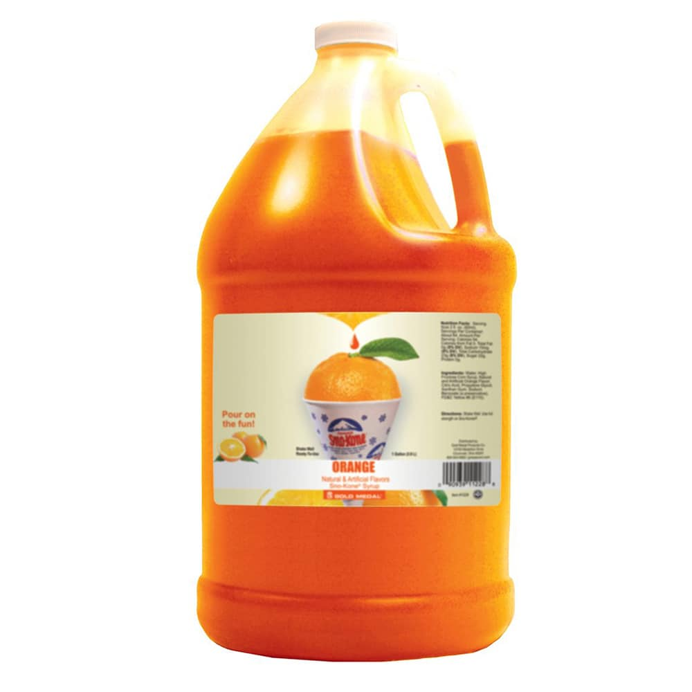 Gold Medal 1228 Orange Snow Cone Syrup, Ready-To-Use, (4) 1 gal Jugs