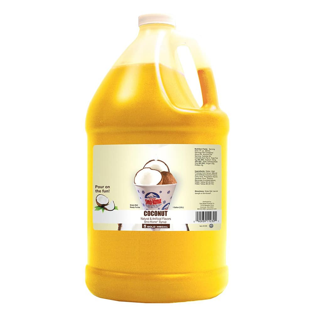 Gold Medal 1230 Coconut Snow Cone Syrup, Ready-To-Use, (4) 1 gal Jugs
