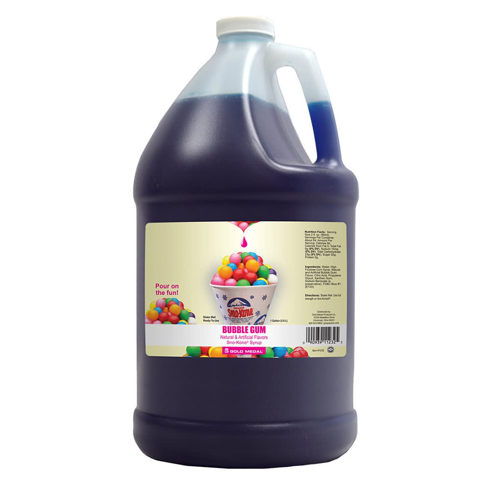 Gold Medal 1232 Bubble Gum Sno Treat Flavor, (4) 1 Gallon Per Case