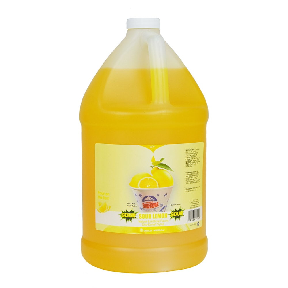 Gold Medal 1258 Sour Lemon Sno Treat Flavor, (4) 1 Gallon Per Case