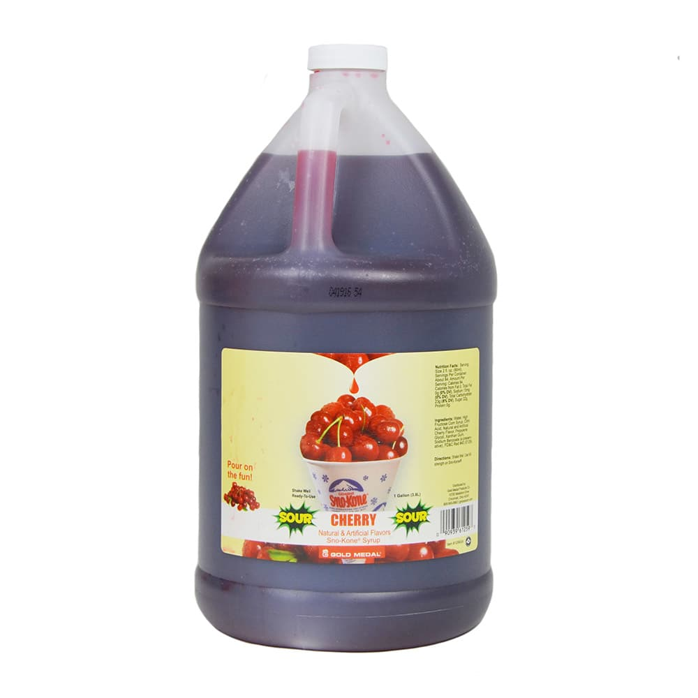 Gold Medal 1259 Sour Cherry Sno Treat Flavor, (4) 1 Gallon Per Case