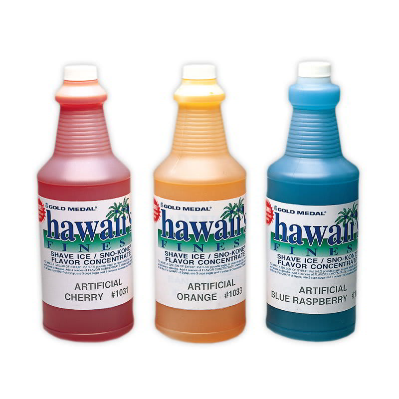 Gold Medal 1369 1-qt. Hawaii's Finest Shave Ice/Sno-Kone Green Apple Flavor Concentrate