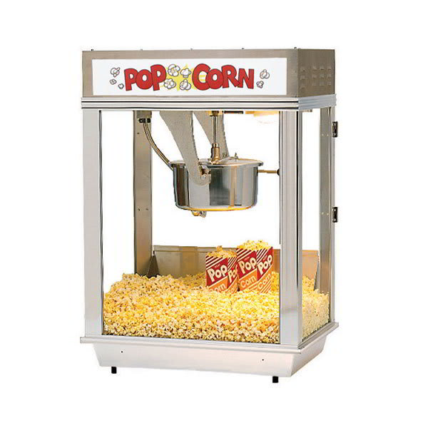 Gold Medal 2001ST 120240 Citation Popcorn Machine w/ Deluxe 16-oz Unimaxx Kettle & Stainless Dome, 120/240V