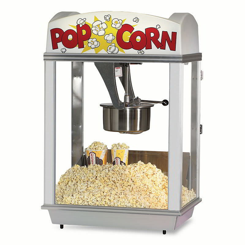 Gold Medal 2003 Popcorn Machine w/ 12-oz Removable Kettle, White Dome, 120v