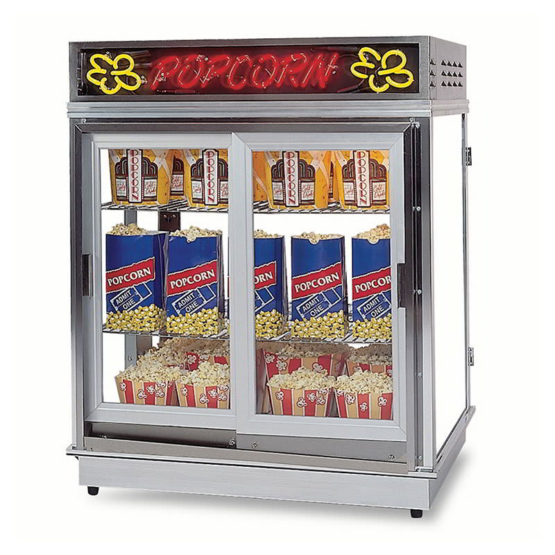 Gold Medal 2004SLDD Astro Pop Staging Cabinet w/ 2-Sliding Doors & 3-Shelf Warmers