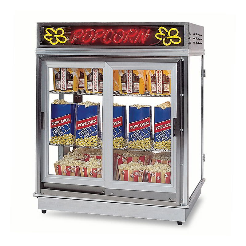 Gold Medal 2004SLDDN Astro Pop Staging Cabinet w/ 2 Sliding Doors & 3 Shelf Warmers, Neon Sign