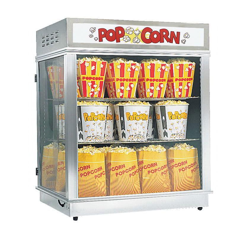 Gold Medal 2004SLDN Astro Pop Staging Cabinet w/ Swing & Sliding Doors & 3-Shelf Warmer, Neon Sign