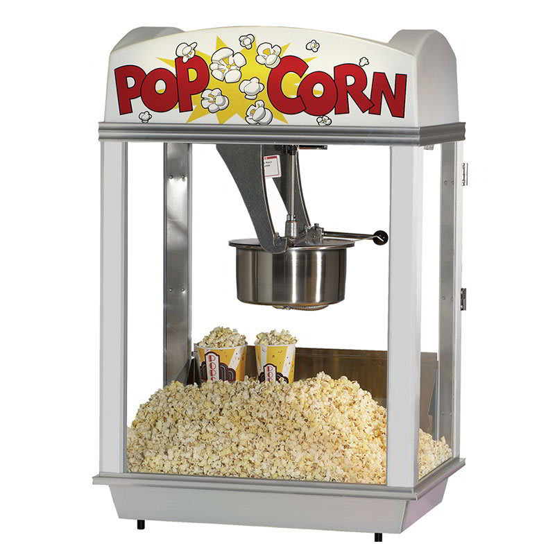 Gold Medal 2007 120208 Pop-A-Lot Popcorn Machine w/ 8-oz EZ Kleen Kettle & White Dome, 120/208V